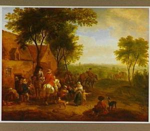 Landschap met ruiters, jagers en boeren bij een herberg