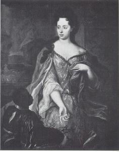 Portret van Maria Anna Luisa de' Medici, keurvorstin van de Palts (1667-1743), met een bediende