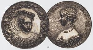 Portret van Willem III van Oranje-Nassau (1650-1702) (recto); Portret van Maria I Stuart (1631-1661) (verso)
