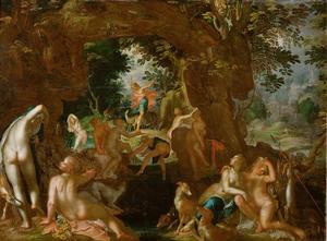 Actaeon, die Diana en haar nimfen bij het baden verrast, wordt in een hert veranderd en door zijn eigen honden verscheurd