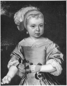 Portret van een meisje met kersen in de hand