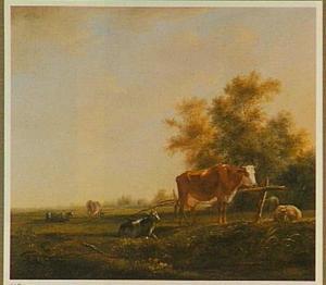 Koeien, schapen en een geit in een polderlandschap