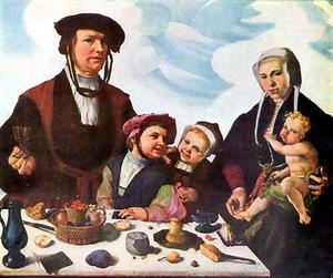 Portret van Pieter Jan Foppesz. (?-1541), Alijdt Mathijsdr. genaamd van Beresteyn (?-1540) en hun kinderen Jan (?-1542), Cornelia (?-1583) en Pieter (?-1545)