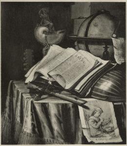 Vanitasstilleven met een globe, nautilusbeker, een opengeslagen boek, muziekinstrumenten, een omgevallen roemer en een prent van een rokende boer op een tafel