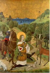 Bekering van Sint Hubertus, linkerluik van het altaarstuk uit Werden