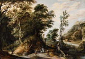 Bebost landschap met een gevecht tussen ruiters en voetsoldaten