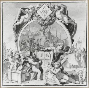 Allegorie van de stad Biervliet waar het haringkaken zou zijn uitgevonden, en de verovering van Constantinopel in 1204 waarbij soldaten uit Biervliet een belangrijke rol speelden