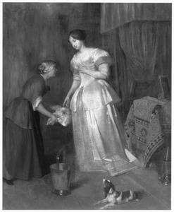 Vrouw keurt aangeboden vlees in een interieur