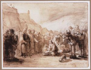 De ontmoeting van David en Abigaïl, die hem mondkost voor zijn leger brengt (1 Samuel 25:23) T