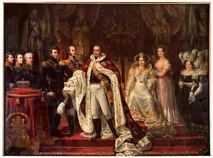 Portret van koning Willem I (1772-1843) met zijn echtgenote, zijn drie kinderen en enkele hovelingen