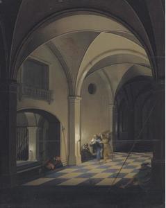 Interieur van een gevangenis met Sint Petrus die vlucht met de engel (Handeligen 12: 6-19)