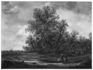 Landschap met rustende wandelaars bij een boerderij