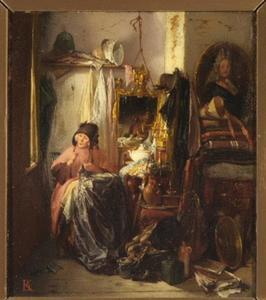 Oude dame in een antiekwinkel