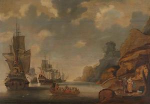 Een Frans eskader bij een rotsachtige kust