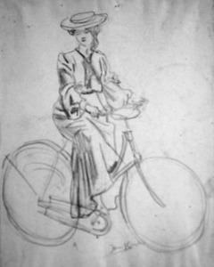 Bertha Langerhorst op de fiets