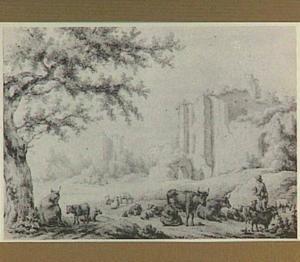 Landschap met de ruïne van kasteel Brederode vanuit het zuidoosten, in spiegelbeeld