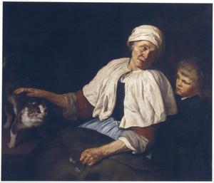 Een oude vrouw met een kat en een jongen