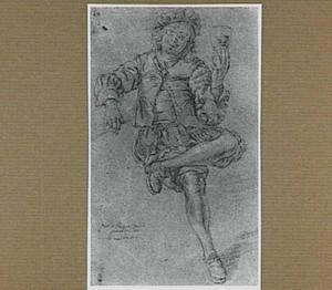Zittende man met een glas in de linker hand, mogelijk portret van Frans van Mieris II (1689-1763)
