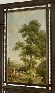 Arcadisch landschap met beeld op een sokkel; allegorie op de jeugd
