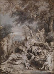Rinaldo en Armida worden door de krijgers Carlo en Ubaldo bespied in de liefdestuin (La Gerusalemme liberata: 16:17-23)