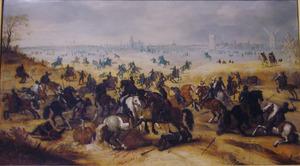 De slag van Vlaamse soldaten tegen de Fransen bij ' s Hertogenbosch op 5 februari 1600