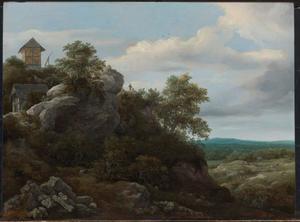 Landschap met huizen op rotsige heuvel en uitzicht over een vlakte