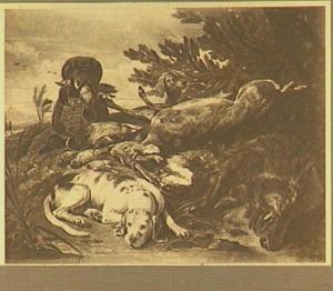 Twee honden bij een jachtbuit van everzwijn, hert en gevogelte in een landschap