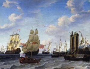 Schepen voor een onbekende haven met rechts een ruïne