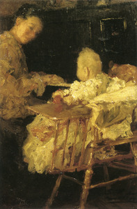 Moeder en kind achter de piano