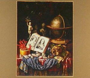 Vanitasstilleven met schedel, globe en een boek
