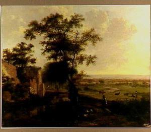 Zuidelijk landschap met herder en zijn kudde bij een ruïne
