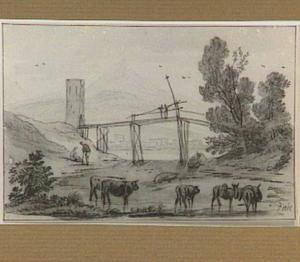 Italianiserend rivierlandschap met brug, figuren en vee