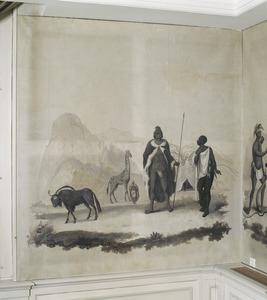Zuidafrikaanse Bosjesmannen of Khoi, een gnoe en een giraffe, in een rotstlandschap