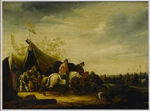 Legerkamp met ruiters en soldaten voor een tent