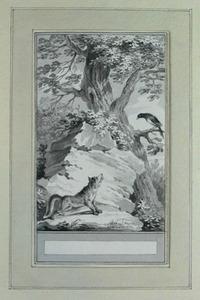Illustratie bij 'De vos en de exter' uit de Fabelen en vertelsels van F.C. Gellert