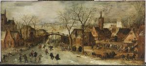 Schaatsers op een bevroren rivier in een dorp