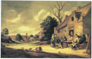 Boeren drinken en converseren voor een herberg