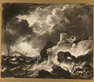 Schipbreuk voor een rotsachtige kust met rechts op de voorgrond schipbreukelingen