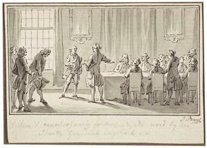 De meerderjarig geworden Prins Willem V wordt voorgesteld aan de Staten Generaal