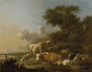 Landschap met vee; links twee hengelaars
