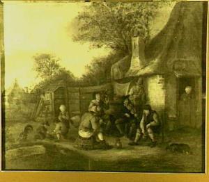 Violist bij een dorpshuisje