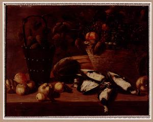 Stilleven met vruchten en dode kieviten