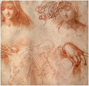 Studie van twee vrouwenkoppen en een paar handen