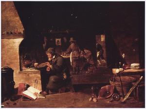 Een alchemist in zijn werkplaats
