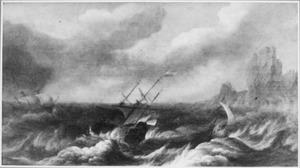 Schepen op zee tijdens storm