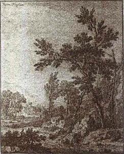Arcadisch landschap met op de voorgrond een rivier en een rustende reiziger met stok