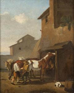 Paarden bij een hoefsmid