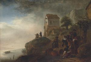 Fantasielandschap met in het midden een deel van de ruïne van de Abdij te Rijnsburg; in de voorgrond een visverkoper en andere figuren