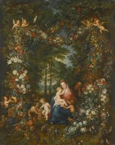De Heilige Familie en de Heilige Johannes de Doper, omgeven door een guirlande van fruit en bloemen, in een boslandschap