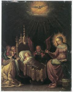 Het slapende Christuskind met Maria, gezegend door de H. Geest, aanbeden door engelen
